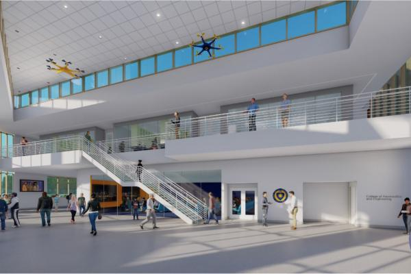 Interior view from the ground floor with drones flying above