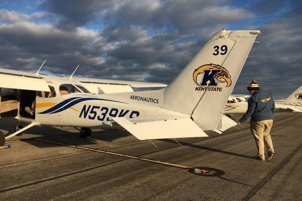 photo KSU Precision Flight Team aircraft at SAFECON