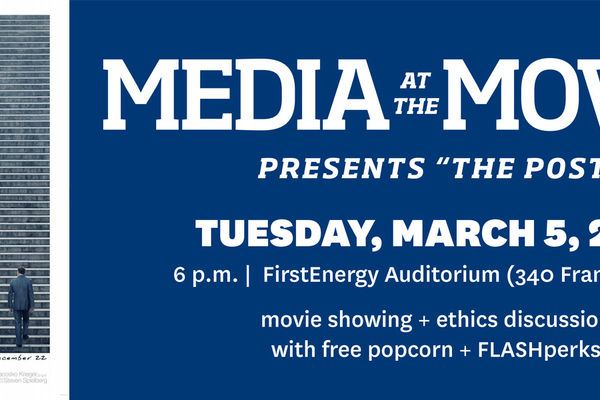 Banner photo of the post movie cover and details about the media at the movies event graphic side by side.
