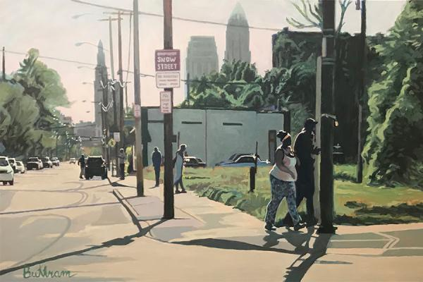 Painting of a city street by David Buttram and a photograph of the artist.