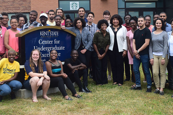 The 2017 Summer Advantage Program participants and staff stand outside Kent State's University College.