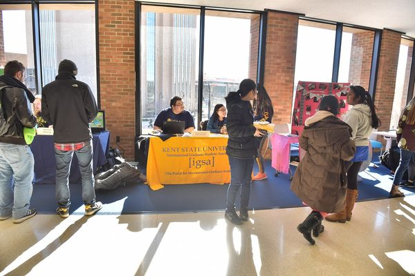 Student organizations meet with potential new members at the Student Organization Fair.