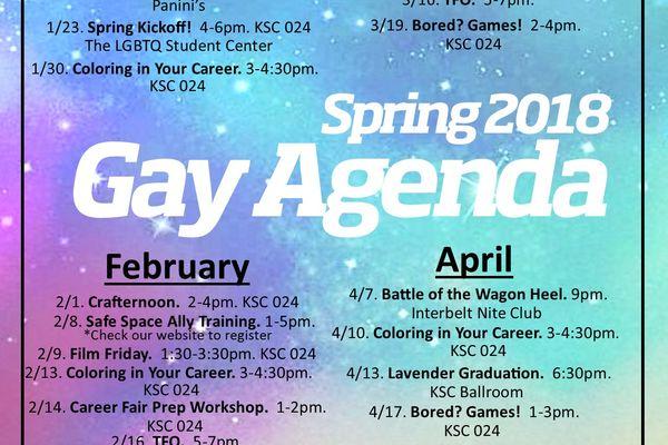 Spring 2018 Gay Agenda Flyer