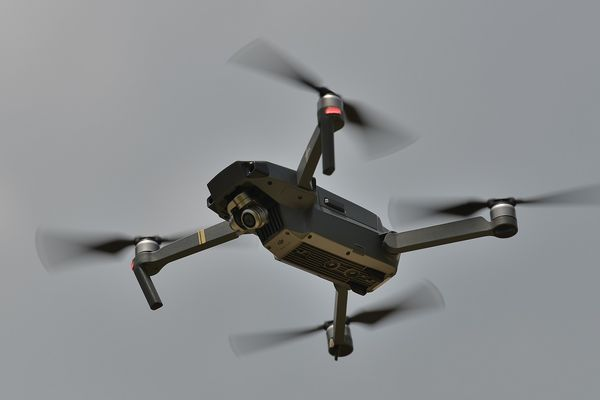 photo unmanned aircraft in air