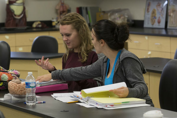 Two students studying in a lab room at the Salem campus