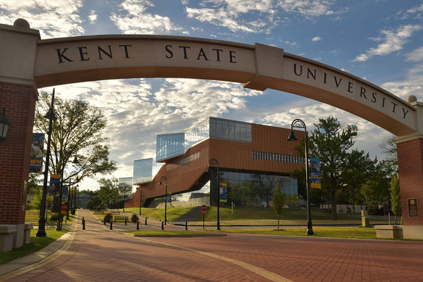 Kent State University sign on esplanade