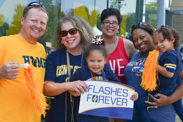 Image of Kent State Family holding Flashes Forever sign