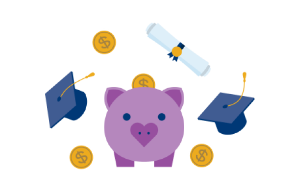 Give back: graduation cap, diploma, piggy bank with coins