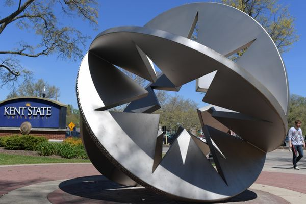 Sculpture on front campus near the Architecture building
