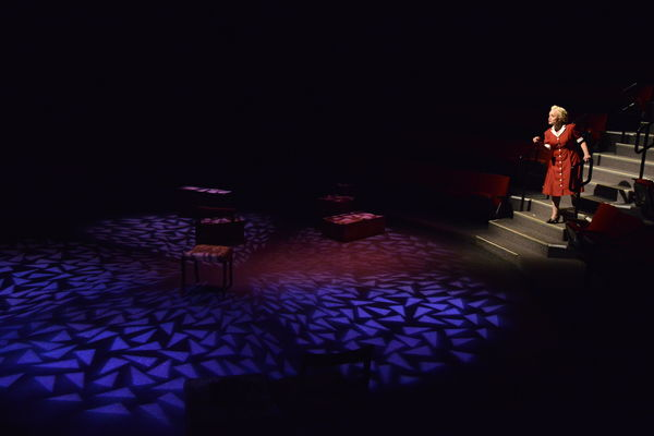 "An element of the lighting design of student Sophia Phillips is displayed on stage during ""Irena's Vow."""