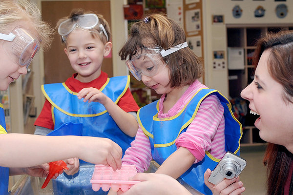 Children play with science concepts at the Child Development Center