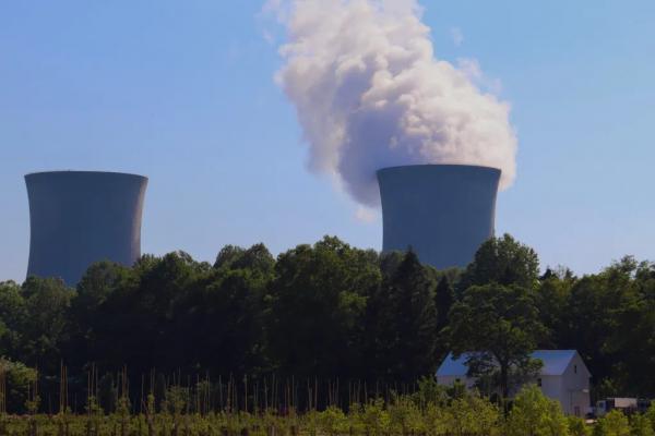 Nuclear power plant smokestacks