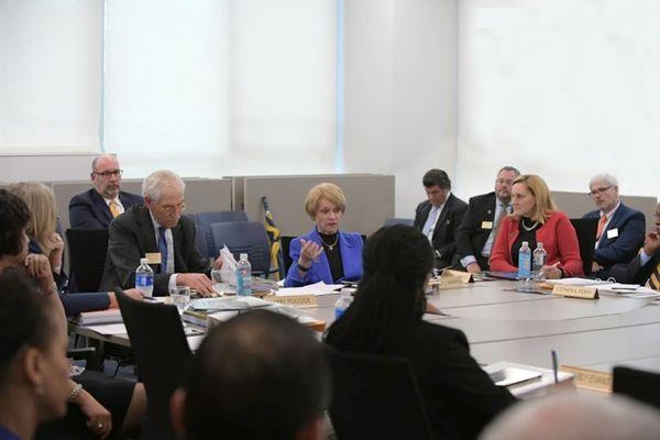 President Warren in meeting