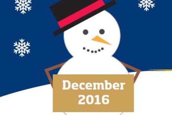 Snowman holding a December 2016 sign