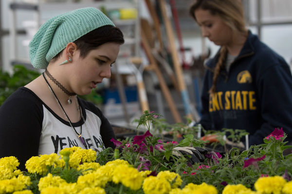 Kent State University at Salem students in the Horticulture Program.
