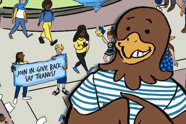 Cartoon flash, with Kent State Risman Plaza behind them