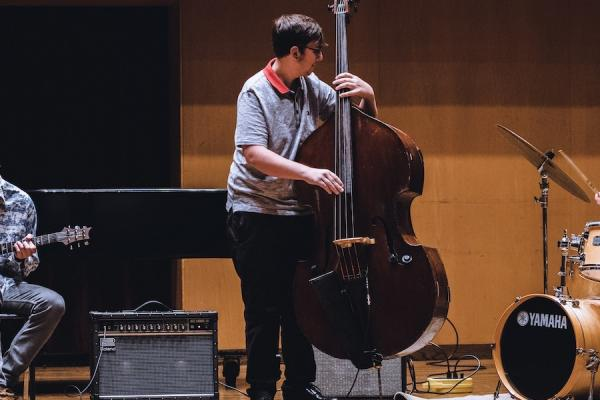 Students performing in a jazz combo in Ludwig Recital Recital Hall at Kent State