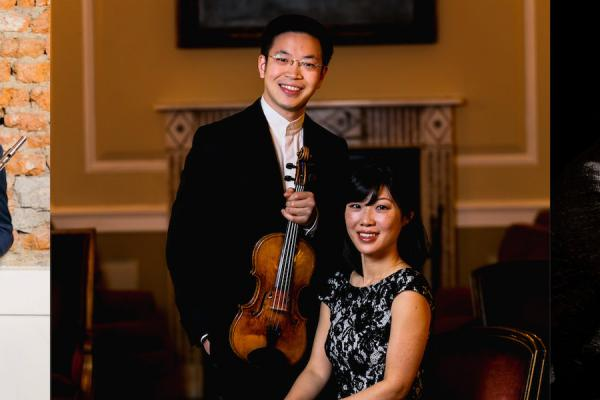 Photo graphic featuring 2021 Kulas Visiting Artists: Demarre McGill, Paul Huang, Helen Huang and Rodolfo Leone