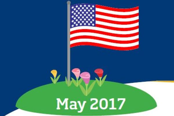 American Flag with flowers around it and May 2017 underneath it