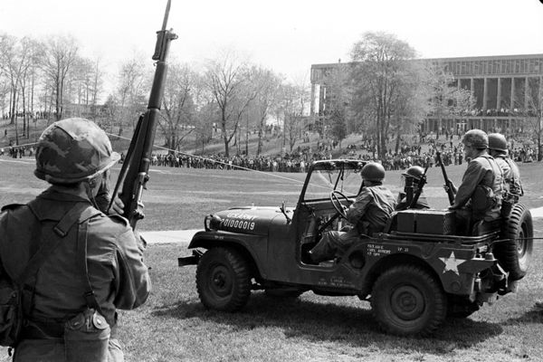 Ohio National Guard jeep on commons