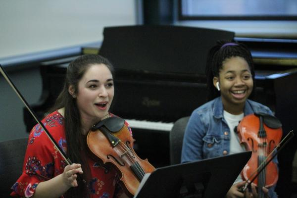 Students in rehearsal