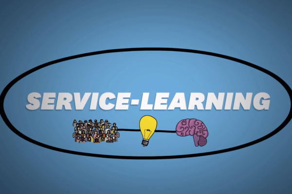 "Graphic that reads. ""Service Learning"" with an image of people, a lightbulb and a brain."