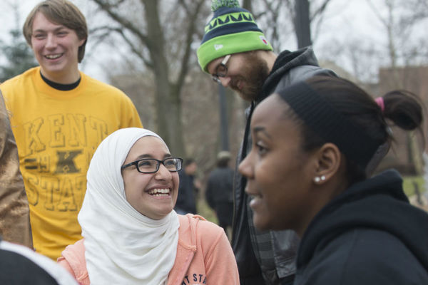 Students gathered on the Stark campus