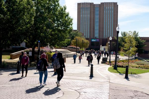 Kent State students walk to and from class.