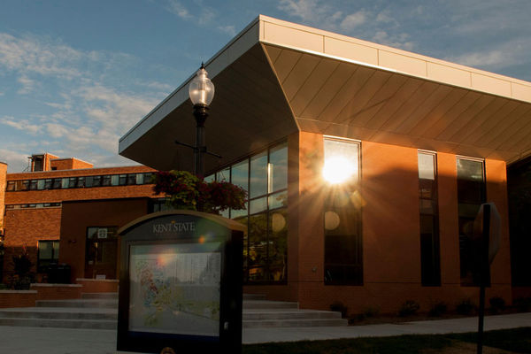 Sunset photo of the Center for Undergraduate Excellence, home of Technology Media and Design