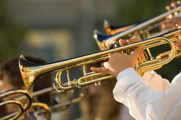 Photo of university band, playing instruments