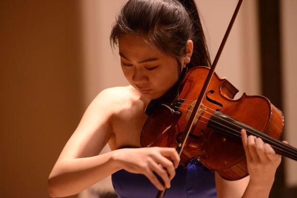 Viola student performing