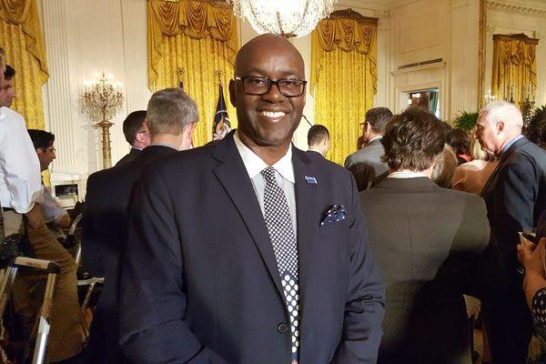 Eric Mathews at White House event, Teacher Appreciation Week 2016