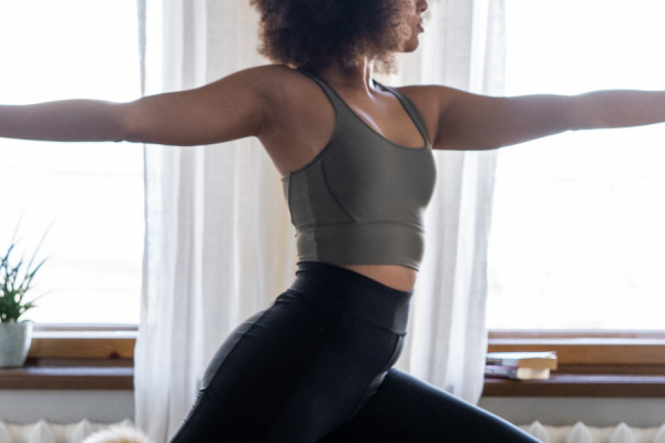 yoga fitness participant in apartment