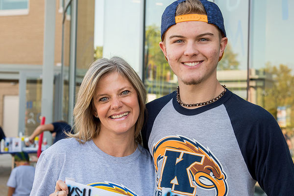Mother and son at a Kent State event