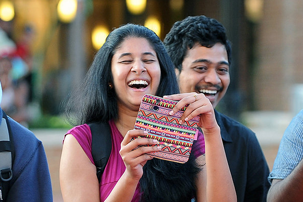 Indian students sharing a laugh on the Kent State campus