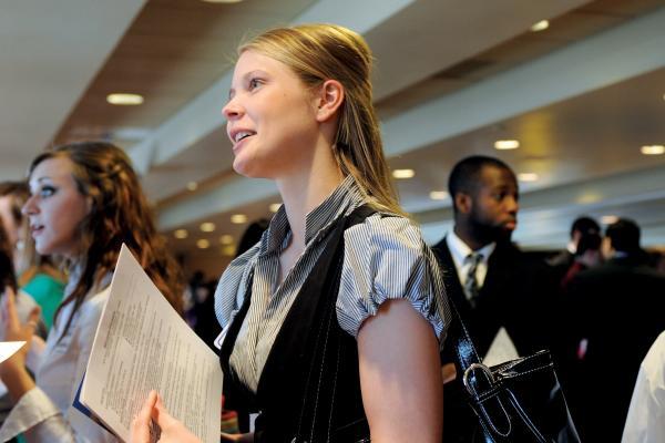 A student takes part in a job fair.