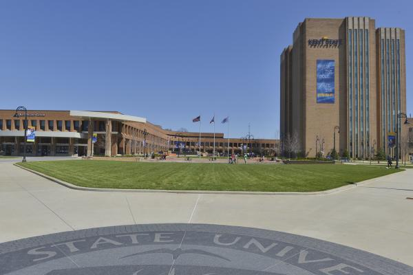 Photo of Kent State Campus Risman Plaza exterior on a sunny day