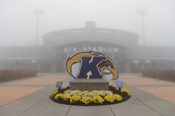photo Kent Flash logo in front of misty Dix Stadium