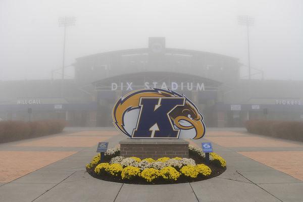 photo Kent Flash logo in front of misty Dix Stadium