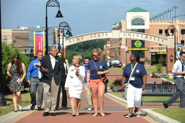 President Beverly Warren walking along the esplanade