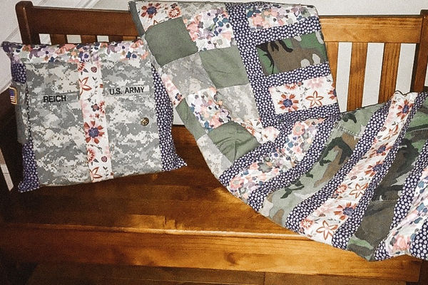 alexandra Reich's quilts from upcycled army fatigues