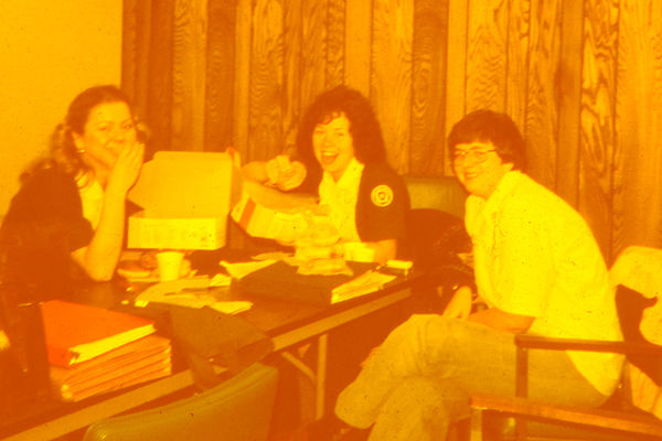 Kent State nursing students enjoy donuts in this classic photo provided by Dr. Ann Jacobson