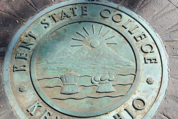 Kent State seal at Prentice Memorial Gate