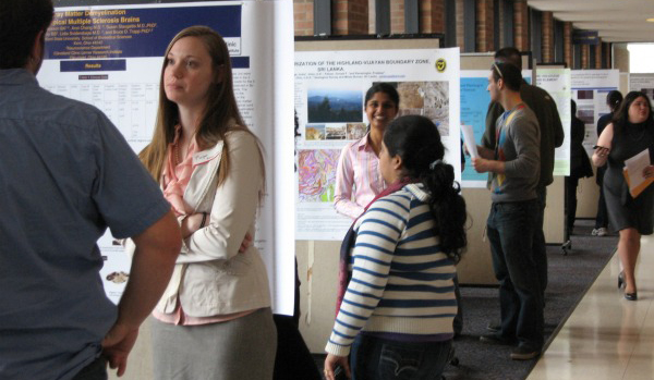 Students present their research at the Graduate Research Symposium on the second floor of the Kent Student Center