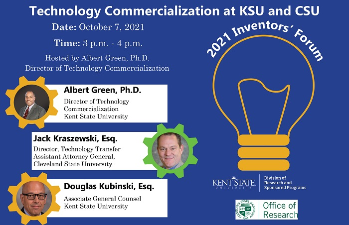 Flyer for the Technology Commercialization at KSU and CSU 2021 Inventors' Forum on October 7, 2021 from 3 to 4 p.m.
