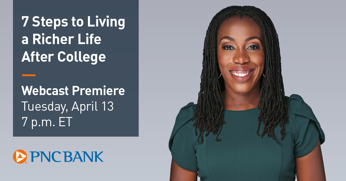 An image of Tiffany Aliche and information relating to a financial wellness event occurring on April 13 at 7 p.m.