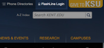 Toolbar with FlashLine login works across kent.edu