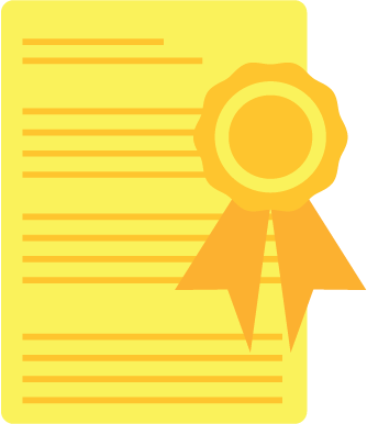 icon of a ribbon on a piece of paper