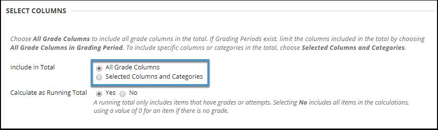 Select Columns options