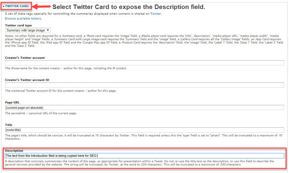 Screenshot of Twitter card description location